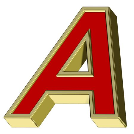 One letter from red with gold frame alphabet set, isolated on white. Computer generated 3D photo rendering. Stock Photo - 6116800