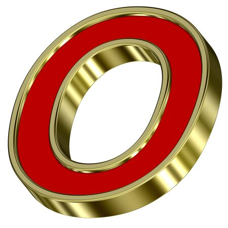 One letter from red with gold frame alphabet set, isolated on white. Computer generated 3D photo rendering. Stock Photo - 6116823