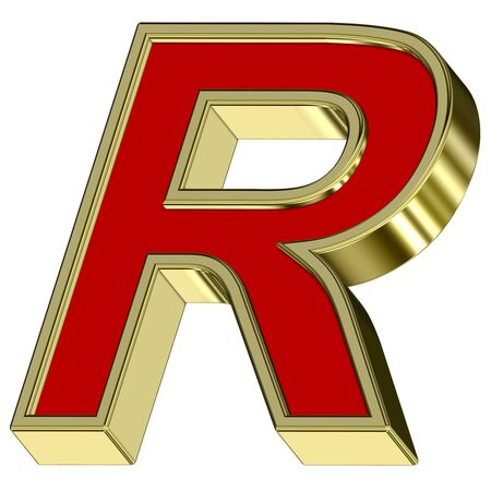 One letter from red with gold frame alphabet set, isolated on white. Computer generated 3D photo rendering. Stock Photo - 6116808