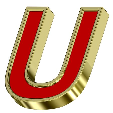 One letter from red with gold frame alphabet set, isolated on white. Computer generated 3D photo rendering. Stock Photo - 6116802