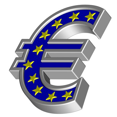 Silver Euro sign with yellow stars isolated on white. Computer generated 3D photo rendering. photo