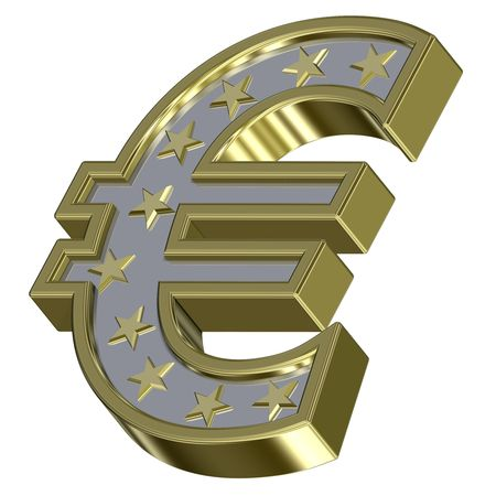 Gold-silver Euro sign with stars isolated on white. Computer generated 3D photo rendering. photo