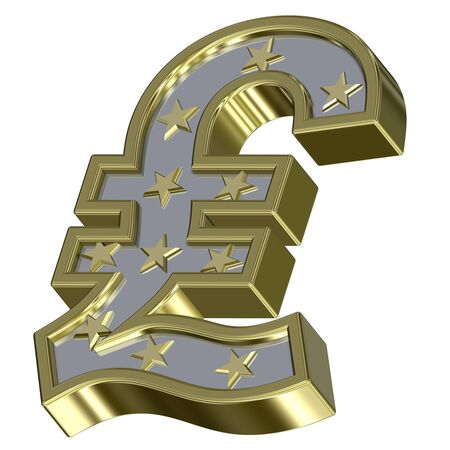 Gold-silver Pound sign with stars isolated on white. Computer generated 3D photo rendering.  photo