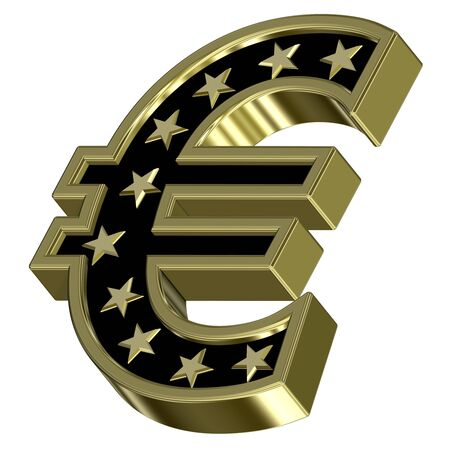 Gold-black Euro sign with stars isolated on white. Computer generated 3D photo rendering. photo