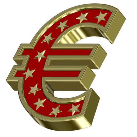 Gold-red Euro sign with stars isolated on white. Computer generated 3D photo rendering. Stock Photo - 6135215
