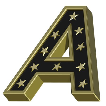 Gold-black letter with stars isolated on white. Computer generated 3D photo rendering.  photo