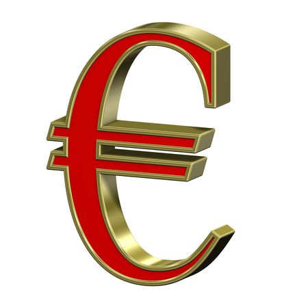 Euro sign from red with gold frame Roman alphabet set, isolated on white. Computer generated 3D photo rendering.  photo