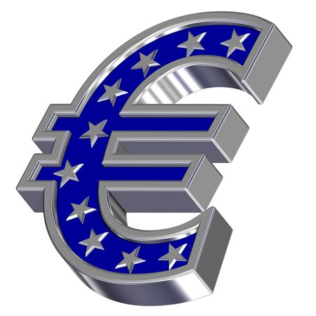 Silver-blue Euro sign with stars isolated on white. Computer generated 3D photo rendering. photo