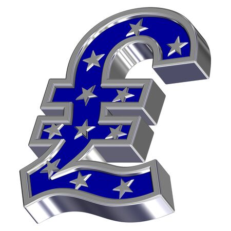 Silver-blue Pound sign with stars isolated on white. Computer generated 3D photo rendering. photo
