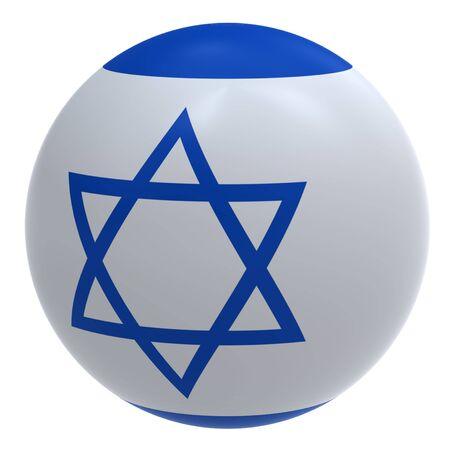 jews: Israel flag on the ball isolated on white. Computer generated 3D photo rendering.