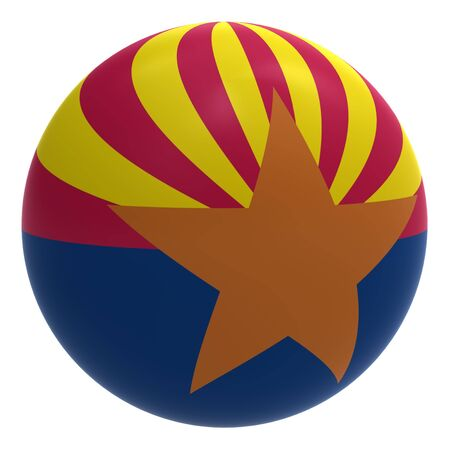 Arizona flag on the ball isolated on white. Computer generated 3D photo rendering. photo