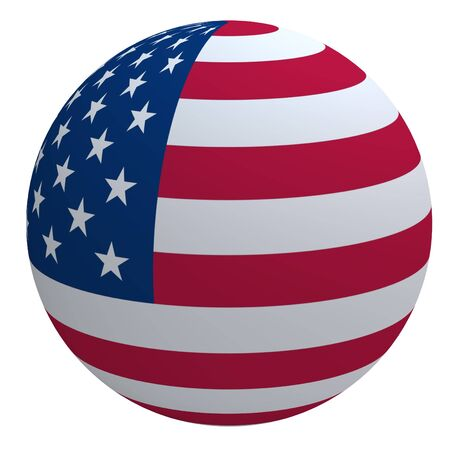 red sphere: USA flag on the ball isolated on white. Computer generated 3D photo rendering.