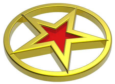 Gold star in a gold circle photo