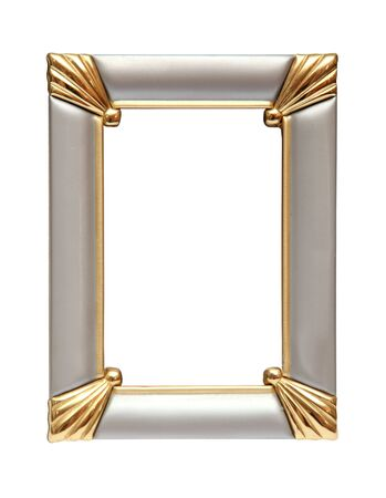 Gold-silver metal frame isolated on white background Stock Photo