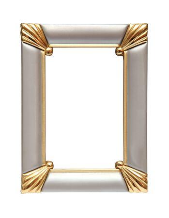 Gold-silver metal frame isolated on white background Zdjęcie Seryjne