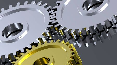 Two steel gears in connection with gold one. Concept for teamwork and business. photo