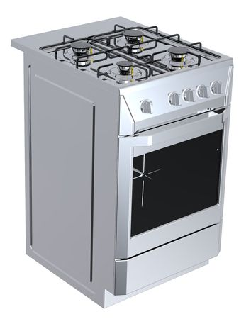 hob: Silver free standing cooker. Computer generated 3D photo rendering.