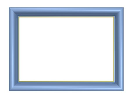 wood craft: Light blue picture frame isolated on white background. Computer generated 3D photo rendering. Stock Photo