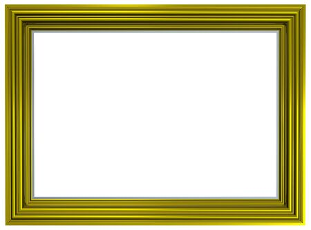bordering: Gold picture frame isolated on white background. Computer generated 3D photo rendering. Stock Photo