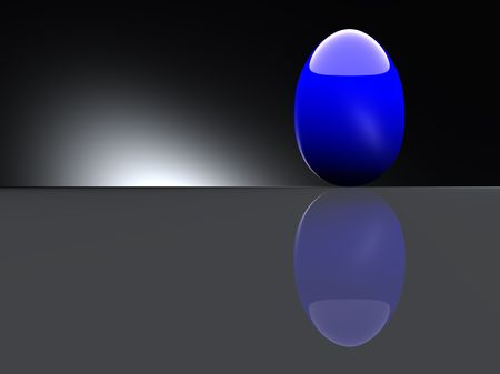 Shiny blue egg on black background. Computer generated 3D photo rendering. photo