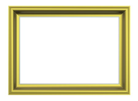 Matt gold rectangular frame isolated on white background. Computer generated 3D photo rendering. photo