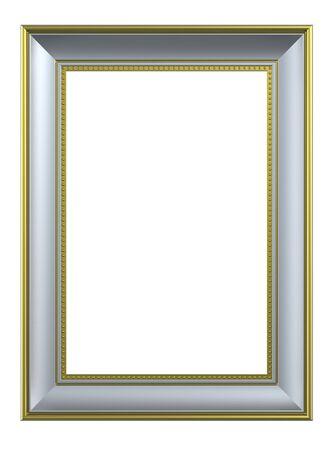 marcos decorados: Marco rectangular de plata-oro aislado sobre fondo blanco. Procesamiento de fotos 3D generados por ordenador.