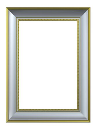 Silver-gold rectangular frame isolated on white background. Computer generated 3D photo rendering.