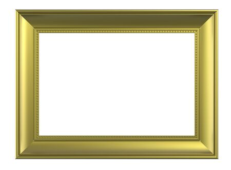 Matt gold rectangular frame isolated on white background. Computer generated 3D photo rendering.  Stock Photo - 6674253