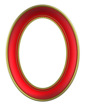 Red-gold frame isolated on white background. Computer generated 3D photo rendering.  photo