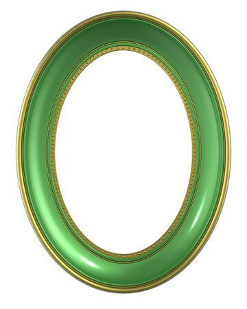 bordering: Green-gold frame isolated on white background. Computer generated 3D photo rendering.