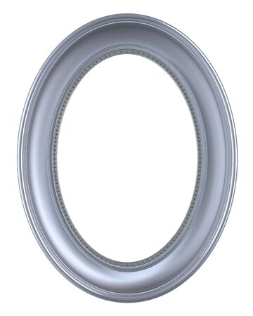 ovals: Silver frame isolated on white background. Computer generated 3D photo rendering.