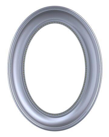 owalne: Srebrny ramki samodzielnie na białym tle. Wygenerowany komputerowo renderowania 3D fotografii.