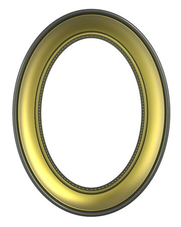 bordering: Gold-olive frame isolated on white background. Computer generated 3D photo rendering.