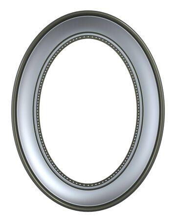 marcos decorados: Marco de plata-oliva aislado sobre fondo blanco. Procesamiento de fotos 3D generados por ordenador.