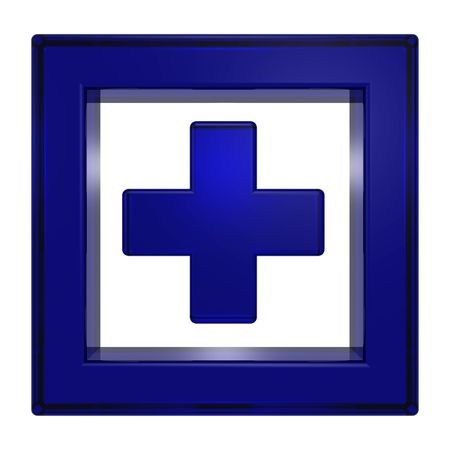 Blue cross in the square isolated on white photo