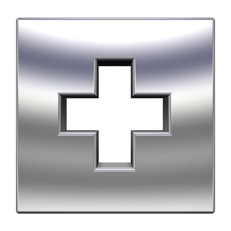 Silver square with cross isolated on white Stock Photo - 6742481
