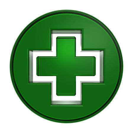 pharmacy icon: Green circle with cross isolated on white