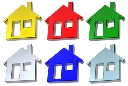 Set of 6 color house icon Stock Photo - 6742517