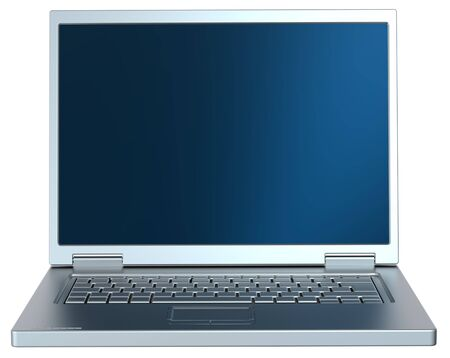 laptop screen: Silver laptop isolated on white. Stock Photo