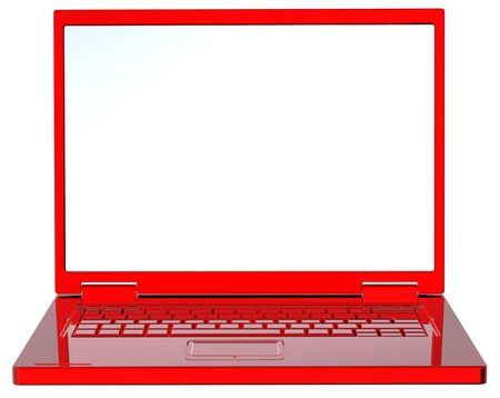 laptop isolated: Port�til rojo aislado en blanco.
