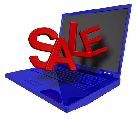 Shiny blue laptop with red sale sign isolated on white. Stock Photo - 6826709