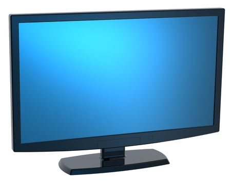 Black Lcd tv monitor on white background. photo