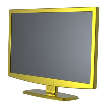 Gold Lcd tv monitor on white background. Stock Photo - 6826762