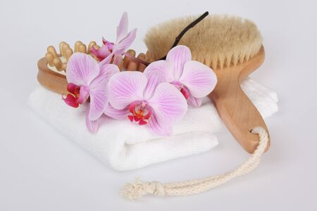 Pink stripy phalaenopsis orchid with a white towel and brush photo