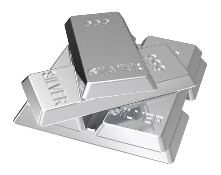 Silver ingots isolated on white. Computer generated 3D photo rendering. Stock Photo