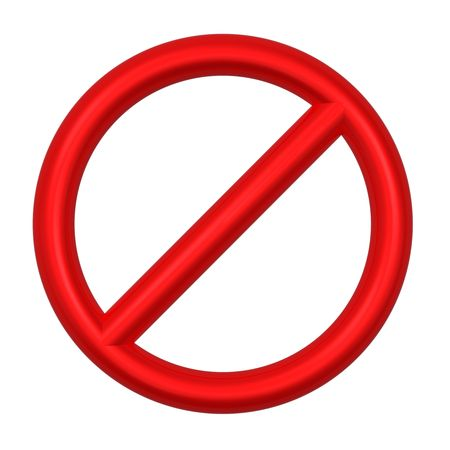 Not allowed sign isolated on white. Computer generated 3D photo rendering. Stock Photo