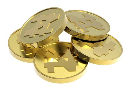 commercial painting: Gold coins isolated on a white background. Computer generated 3D photo rendering.