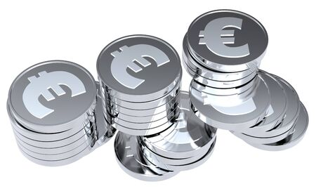 Stacks of silver coins isolated on a white background. Computer generated 3D photo rendering. Stock Photo - 7112882