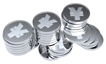 Stacks of silver coins isolated on a white background. Computer generated 3D photo rendering.  photo
