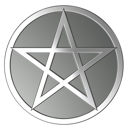 Silver pentagram Stock Photo